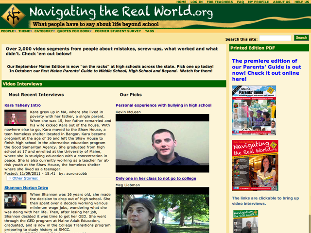 The old Navigating the Real World site. This is how it looked before the redesign.