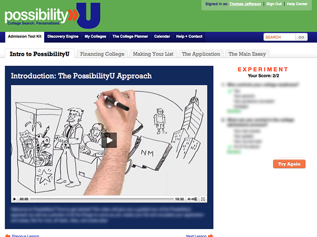 PossibilityU video page